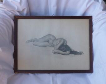 erotic art - vintage erotic pencil sketch on paper - Sketch - Black and white sketches - pencil sketch - art sketch - erotic sketch unsigned