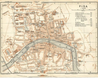 1930 map of italy pisa. antique map vintage wall art