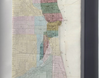 Canvas 24x36; Great Chicago Fire Map With Starting Point
