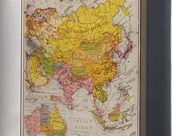 Canvas 24x36; Map Of Asia 1934