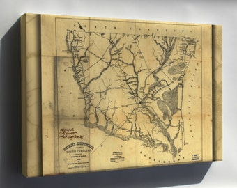 Canvas 24x36; Map Of Horry District, South Carolina 1825