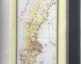 Canvas 24x36; Map Of Iron And Steel Foundries In Sweden C1920