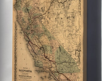 Canvas 24x36; Map Of California 1876