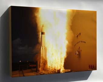 Canvas 16x24; Standard Missile-3 (Sm-3) Launched From Uss Lake Erie (Cg 70)