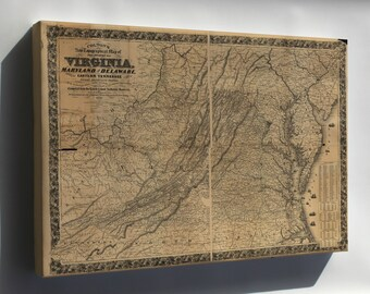 Canvas 16x24; Topography Map Virginia Maryland Delaware 1862