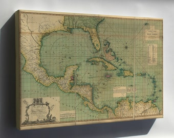 Canvas 16x24; General Chart Map Of The West Indies 1796