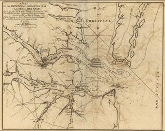 16x24 Poster; Revolutionary War Map Of Chesapeake Bay