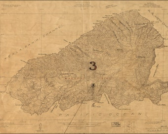 16x24 Poster; Map Of Kahoolawe, Hawaii  Topography 1926