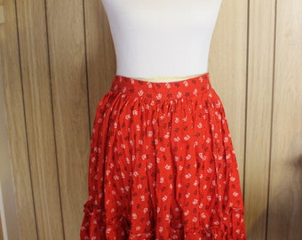 Rockabilly Style red and black full skirt