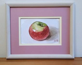 Empire Apple Original Watercolor Painting Still Life by Aleksey Vaynshteyn