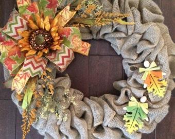 Large Fall Wreath - Fall Burlap Wreath - Autumn Wreath - Fall Leaves Wreath- Front Door Wreath for Fall