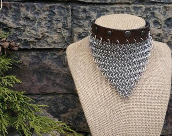 """Leather and Chain-maille """"Countess"""" Choker"""
