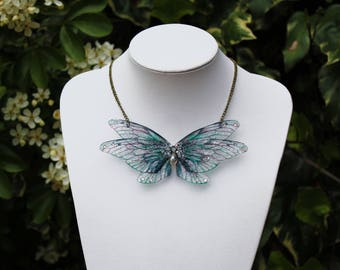 Delicate Green Marble Fairy Wings- Gossamer Fairy/Faerie Butterfly Cicada Wing Statement Necklace