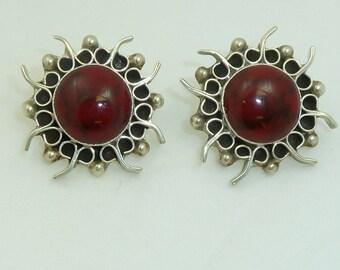 Vintage Sterling Silver and Red Jasper Sunburst Earrings