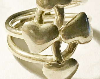 Ring 4 Hearts Entwined Sterling Silver Valentine's Day