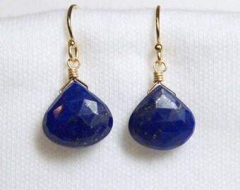 Blue LAPIS LAZULI faceted gem stone heart briolette 14k gold filled drop earrings