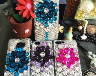 New Bling Assorted Clear Blue Pink Purple Luxury Crystals Lovely Fashion Flowers Rhinestones Diamonds Gems Hard Cover Case for Mobile Phone