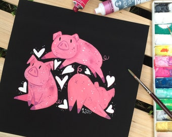 Animal Love - Piggies - Giclee print - 21x21cm