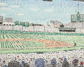 Wrigley Field Word Art Print - Chicago Cubs - Chicago Cubs Wall Art - Dorm Decor - Chicago Art - Chicago Cubs Poster - Man Cave Decor Art -