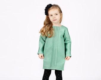 Girls green denim dress-Girls green dress-Jeans green dress-Denim Toddler Dress-Decorative stitch dress-Cotton green dress-baby denim dress