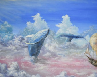"Original Painting 50x100 cm Oil on canvas ""Whales in sky''"