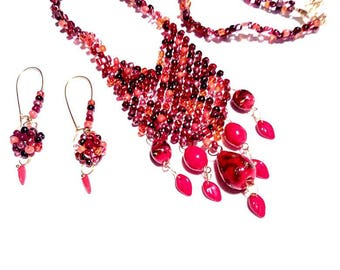 Red beadwork beaded necklace and earrings jewelry set handmade gift for her gift for Mom red gold brown beaded seed beads necklace earrings