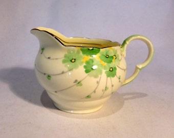 Royal Grafton milk jug with green floral design patt #6121 - original from the 1950s
