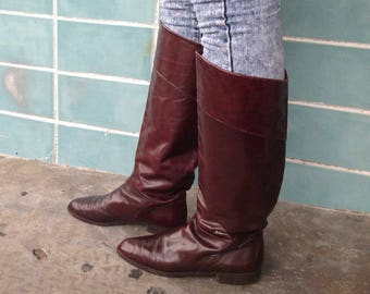 sz 10 vintage flat oxblood brown leather  riding boots