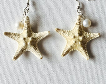 Hawaii Real Starfish Silver Wire Wrapped Dangling Earrings