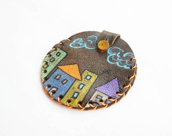 Colorful leather wallet - Painted - House drawing - City - Circle - Small - Neighborhood - Unique - Original - Design - Cute - Mini