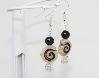Glass bead and silver wire drop earrings