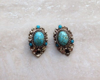 Vintage Faux Turquoise Earrings, Clip On Earrings, Circa 1950, Vintage Gift, Mother's Day Gift