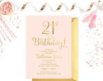 St Birthday Invitations Pink Gold St Birthday Invites - 21st birthday invitations gold coast