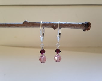 Blush Rose and Burgundy Crystal Earrings
