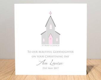 Personalised Goddaughter Christening Card - Personalised Goddaughter Christening Card - Personalised Granddaughter Christening Card