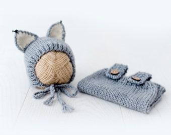 All Wolf knitting - overalls + Cap - newborn, 3-6, 9-12 months