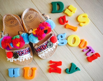 "Handmade leather sandals, ""Demetra"" , pompom sandals, girls boho sandals ,girls sandals , baby ethnic sandals , handmade summer sandals"