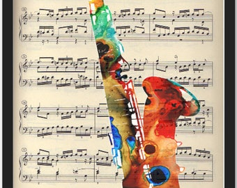 Saxophon, print on vintage book page, print, vintage book, art print, art, book art, wall decoration, home décor, mixed media