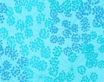 "Robert Kaufman - Blue Print Basics Wide  - AVWX-16064-81 Turquoise - Valori Wells - 108"" Wide - Wide Width - Blue - Floral - Basic Blender"