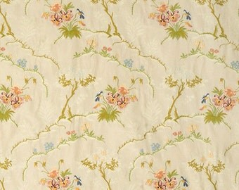 SCALAMANDRE SHABBY FLORAL Silk Damask Lampas Fabric 5 Yards Special