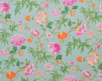 CLARENCE HOUSE CHINOISERIE Blossoms Bamboo Cotton Print Fabric 5 Yards Peach Rose Green Multi