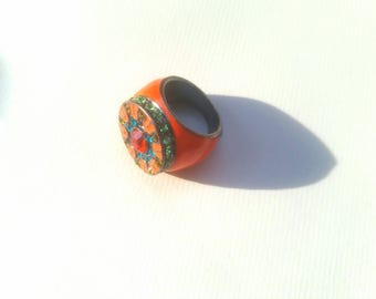 Large vintage mod orange enamel ring women size 7 orange blue and green gems art deco silver metal round