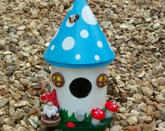 Cute decorative toadstool house with gnome /bird nesting box. (Blue)