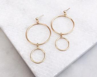 Gold Hoop Earrings, Dainty Gold Earrings, Statement Earrings, Gold filled Earrings, Stud Earrings, 14Kt Gold Fill