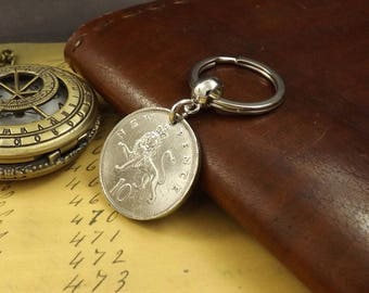 1977 British Ten New Pence Coin Keyring 41st Birthday Gift