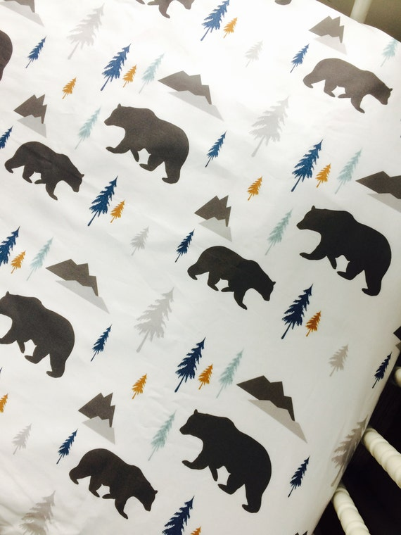 Bears And Trees Fitted Crib Sheet Nursery Bedding Baby Boy
