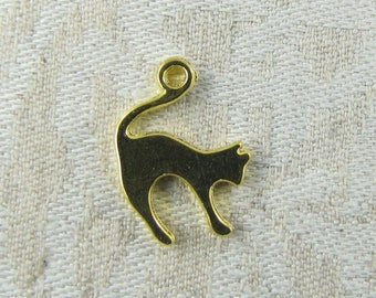 Set of (12) Gold Cat Silhouette Charms, 12 per package  ANM043GL