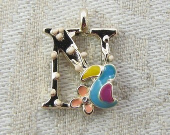"""Gold and Enamel Floral Letter """"N"""" Charm, 1 or 5 letters per package  ALF024n"""