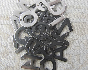 Stainless Steel Sans Serif Mix n' Match ANY 5 LETTERS 5 charms per package  ALF007-5