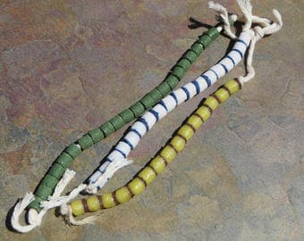 Vintage West African Powder Glass Beads.  Trade Beads.  3 Strands.  56 Beads.  Blue/White, Yellow/Brown, Green  001050